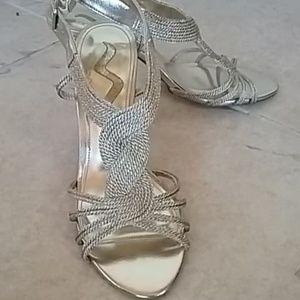 Nina gold evening heels